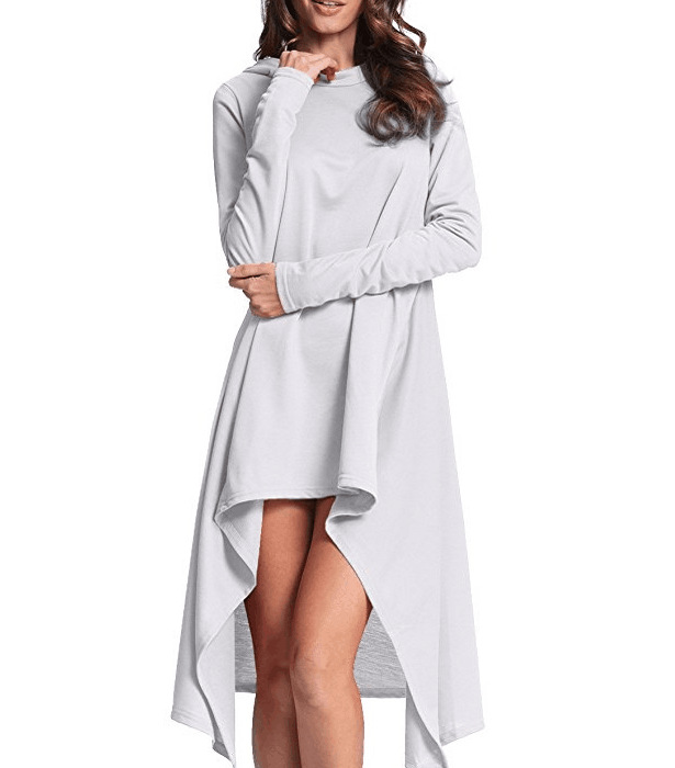 Women High Low Hoodies Aymmetrical Hem Casual Loose Long Sleeve Pullover Sweatshirt off white