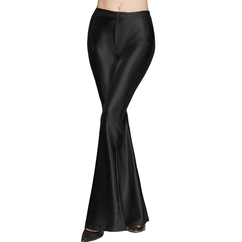 Fashion Women Sequined Flare Pants High Waist Glitter Color Sexy Slim Streetwear Long Trousers black