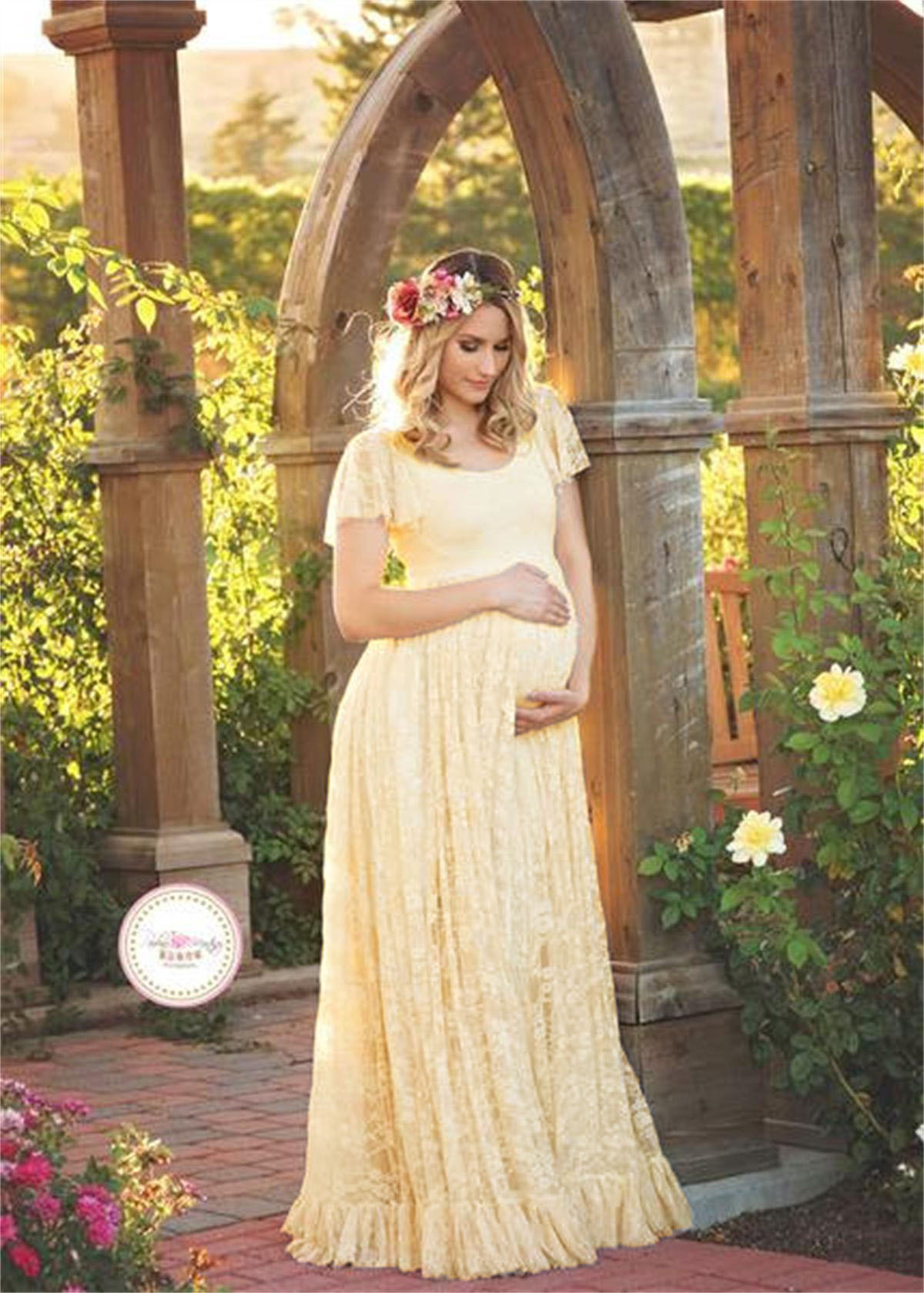 27785a87ed Long Lace Pregnant Dress Women Casual Ruffles Short Sleeve Evening Party  Maxi Maternal Pregnancy Dress Beige