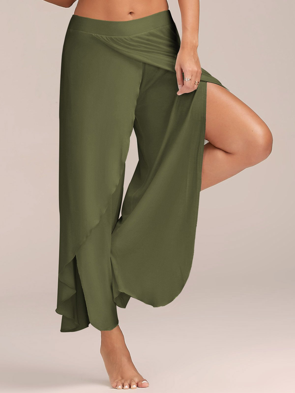 1 Piece Women High Split Trousers Female Loose Yoga Sport Wide Leg Pants army green