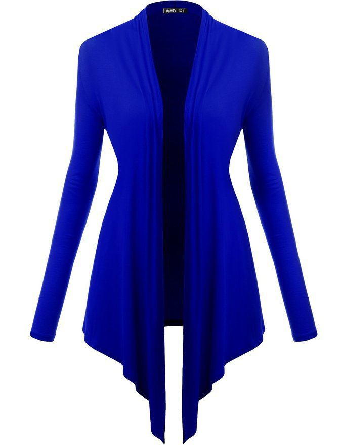 Women Cardigan Spring Long Sleeve Irregular Ladies Coat Slim Jacket Outerwear royal blue