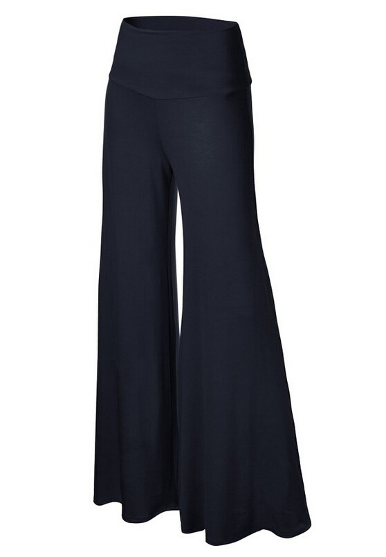 Women Slim Flare Pants High Waist Long Trousers Casual Office Work Wide Leg Trousers navy blue