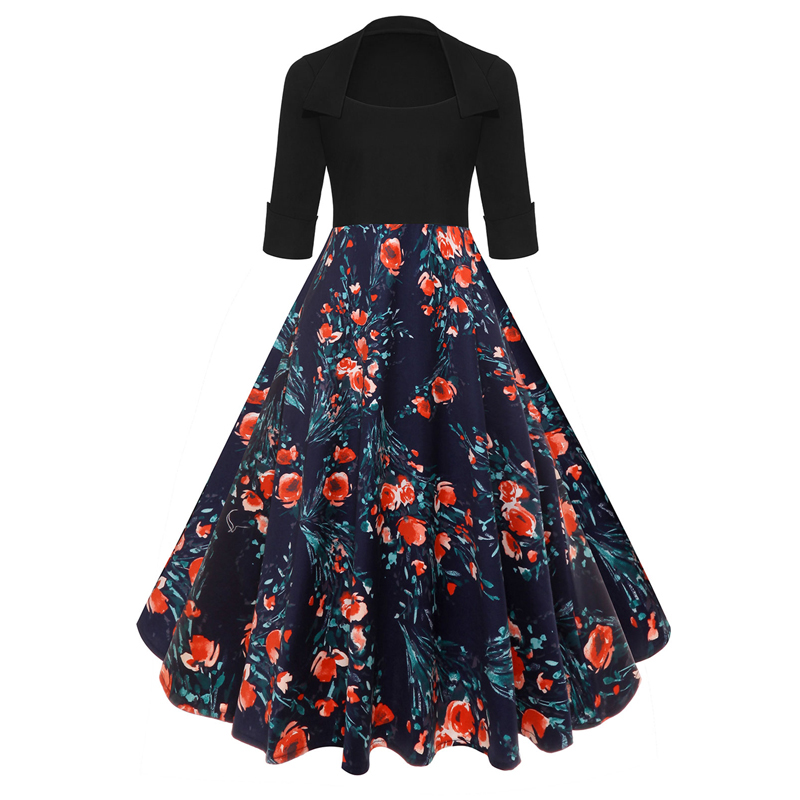 Women Half Sleeve Floral Printed Dress Spring Autumn Vintage Retro 50 60s Rockabilly Skater Party Casual Dress 8#