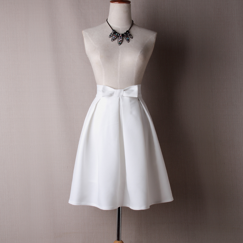 Women Midi Skirt High Waist Pleated Knee Length Vintage A Line Bow Zipper Skater Skirt off white