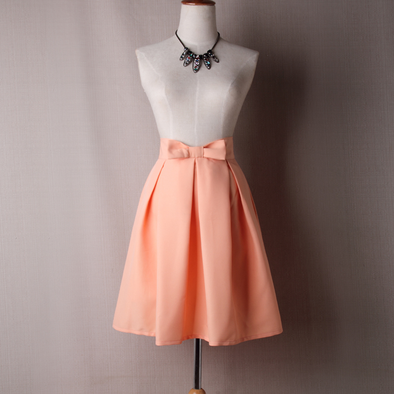 Women Midi Skirt High Waist Pleated Knee Length Vintage A Line Bow Zipper Skater Skirt salmon