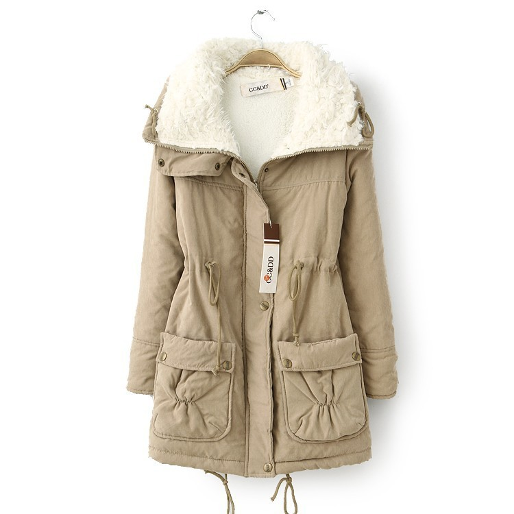 Winter Women Thick Long Fleece Coat Warm Turn Down Collar Fashion Parka Jackets Female Outerwear khaki
