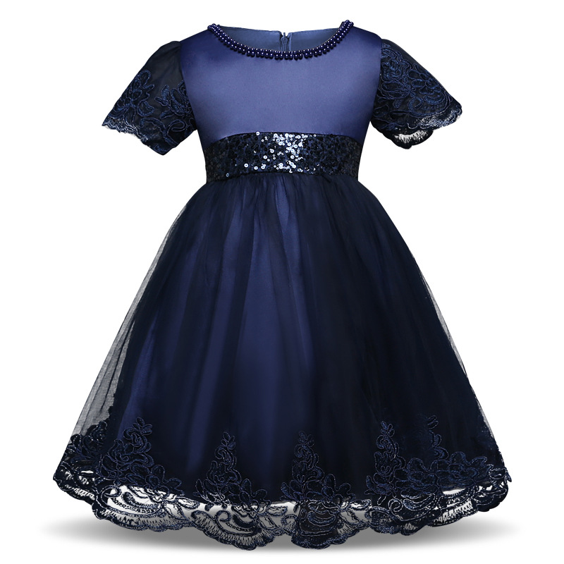 823466d61c08 Princess Lace Flower Girl Dress Short Sleeve Bow Tutu Party Ball Gown Baby  Toddler Kids Clothes navy blue