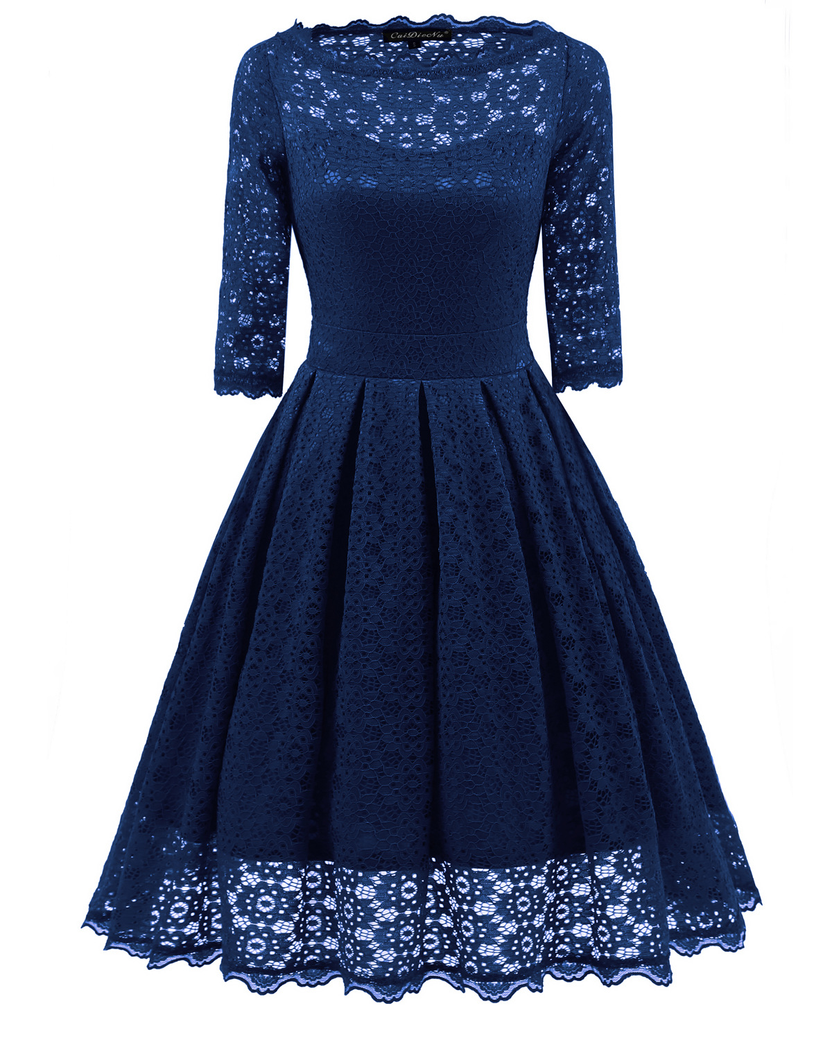 Women Floral Lace Dress Vintage 50s 60s 3/4 Sleeve Rockabilly Cocktail Evening Party Swing Dress navy blue