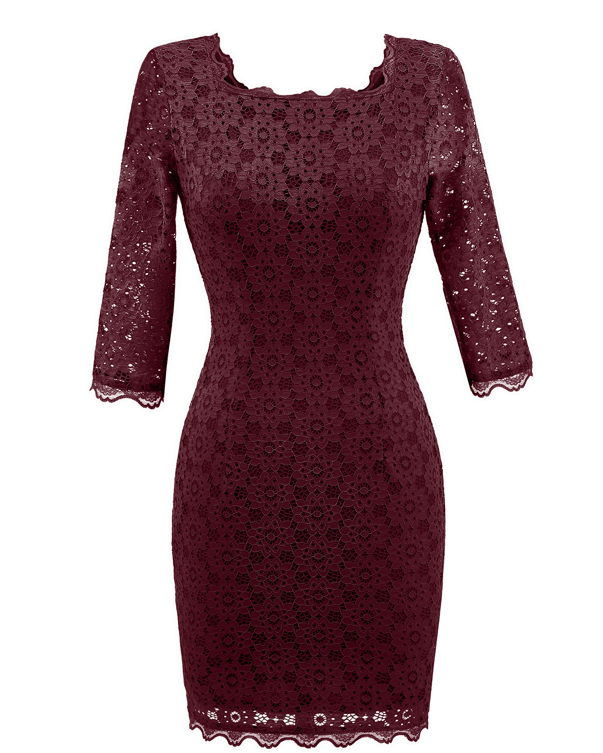 Vintage Lace Bodycon Pencil Dress Sexy Backless Square Collar 3/4 Sleeve Women Sheath Cocktail Party Dress burgundy