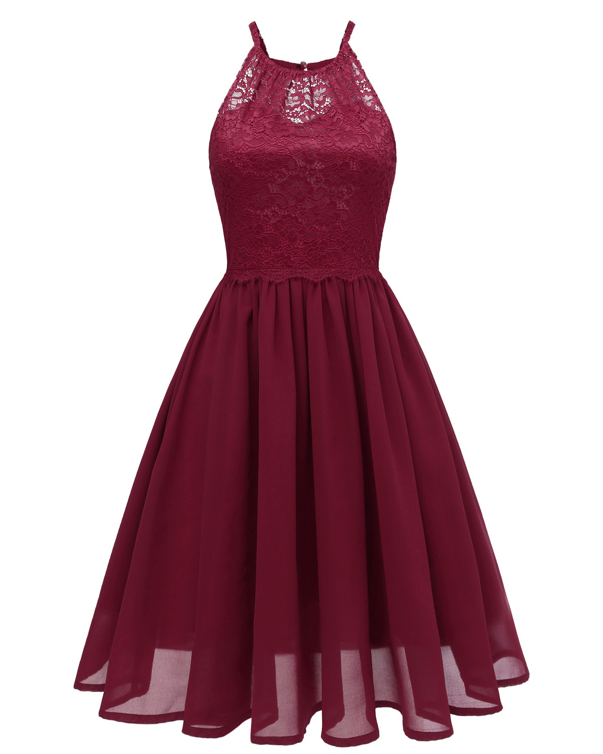 Women Chiffon Dress Sleeveless Summer Hollow Lace Patchwork A Line Casual Party Dress burgundy