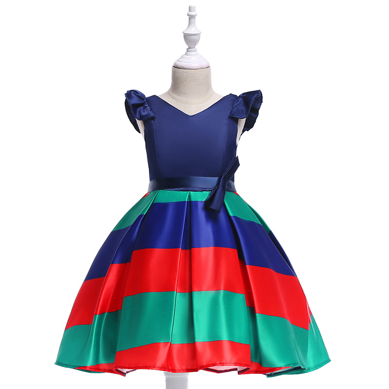 Baby Girls Striped Dress Cap Sleeve Kids Formal Party Birthday Costume Children Clothes red