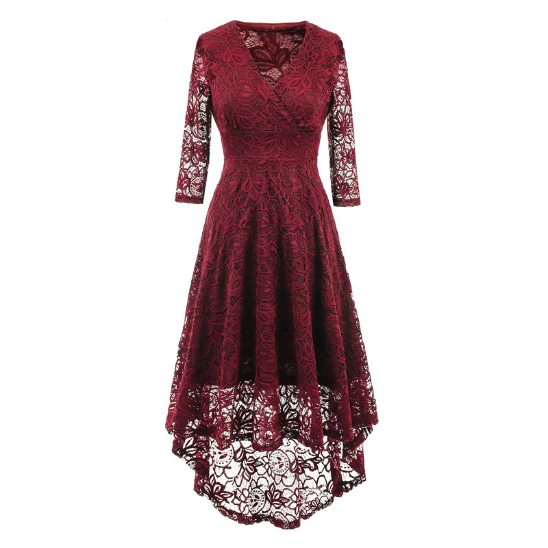 4d8759c3e911 Vintage Floral Lace High Low Dress Women V Neck 3 4 Sleeve Cocktail Evening  Party Swallowtail Dress burgundy