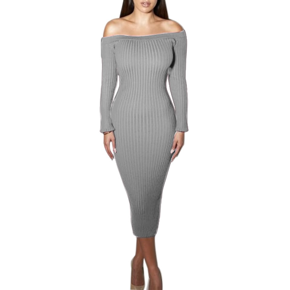 Fashion Long Sleeve Off Shoulder Women Dress Slash Neck Slim Bodycon Knitted Sweater Party Night Sexy Club Dress gray