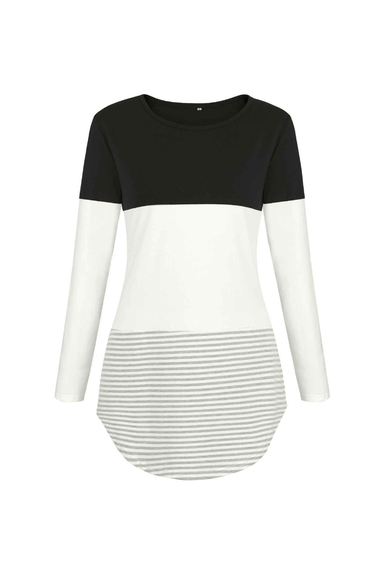 Women Long Sleeve Cotton T Shirt O Neck Spring Summer Striped Patchwork Casual Tee Tops black