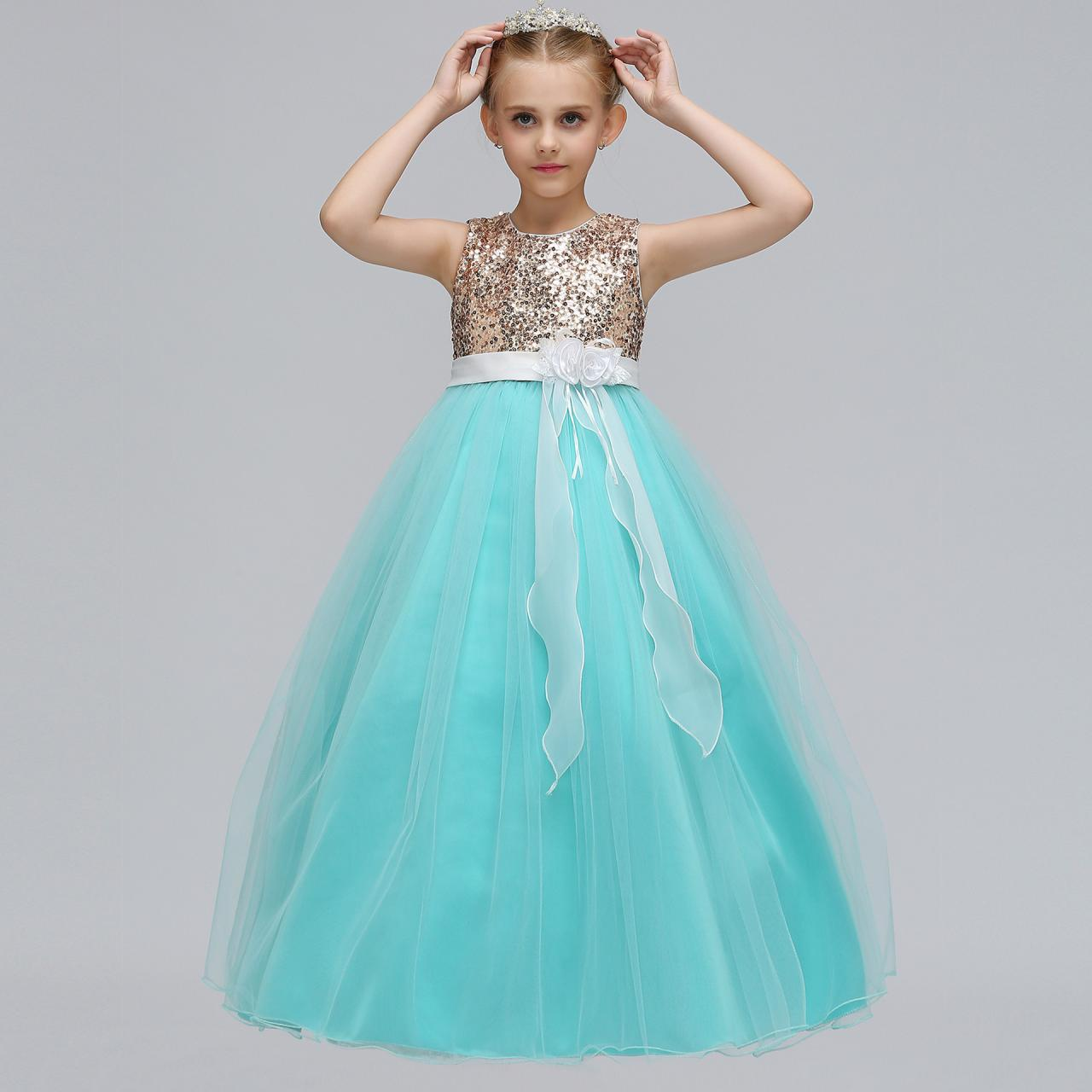 Sequined Long Flower Girl Dress Kids Teens Birthday Party Gowns ...