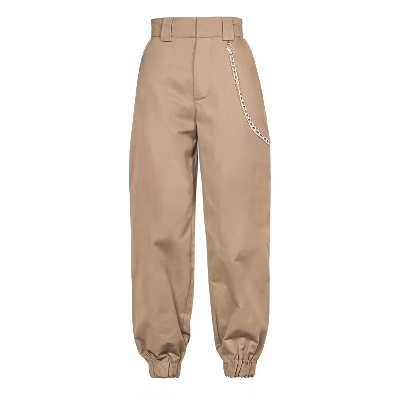 Women Harem Pants Streetwear High Waist Casual Dance Sweatpants Chain Zipper Cargo Trousers khaki