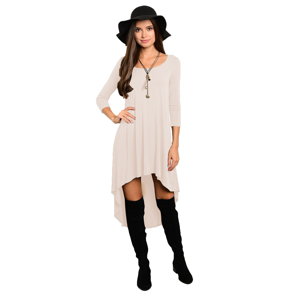 Comfortable Summer Casual Loose Dress Women Solid Long Sleeve O-Neck Asymmetrical Plus Size Dress cream
