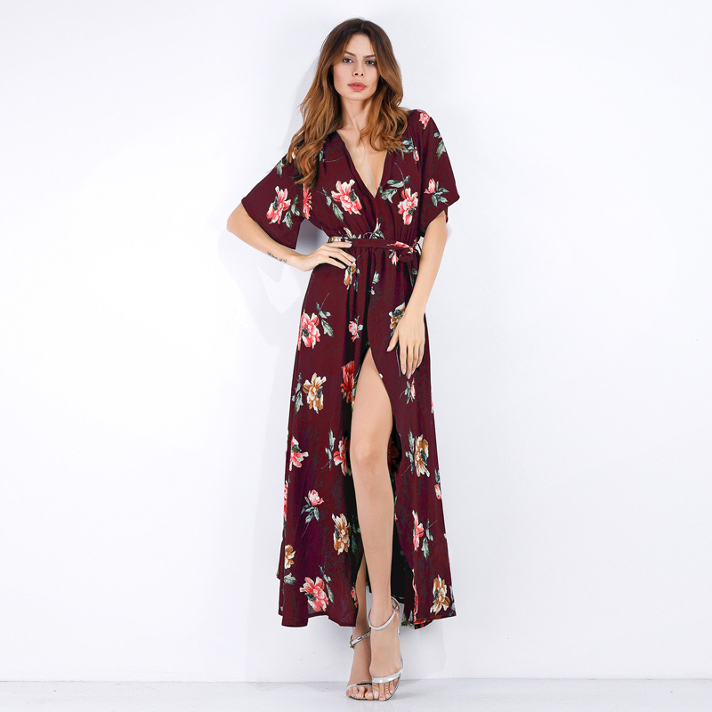 Women Summer Floral Printed Maxi Dress Boho Short Sleeve V-Neck Split Belted Beach Long Dress8#