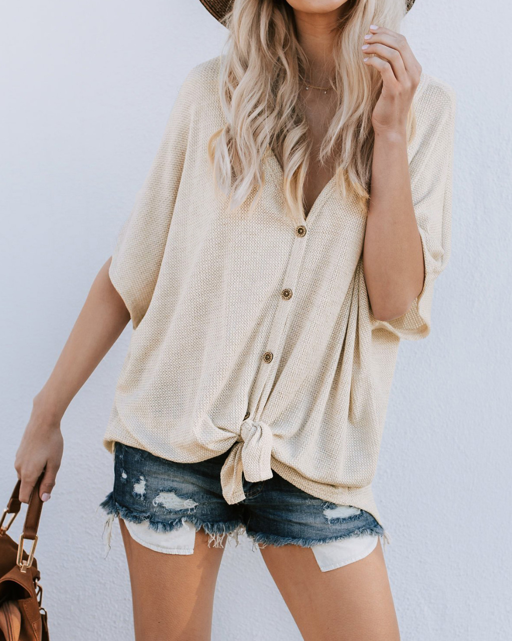 Women Button T Shirt Casual Short Sleeve V-Neck Summer Loose Tees Tops Cardigan apricot