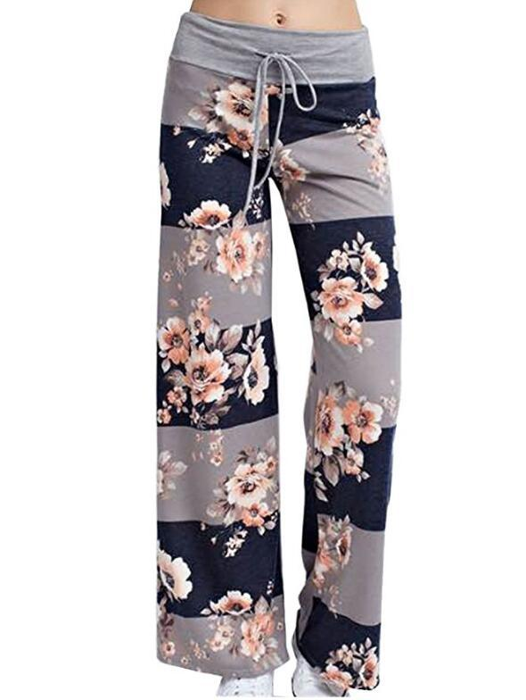 Women Wide Leg Long Pants Floral Print Casual High Waist Drawstring Loose Palazzo Pajama Trousers4#
