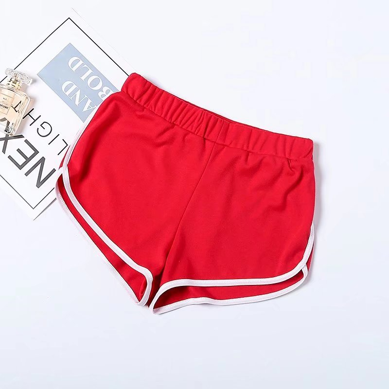 Women Summer Shorts Elastic Waist Streetwear Loose Letter Printed Soft Cotton Casual Shorts red