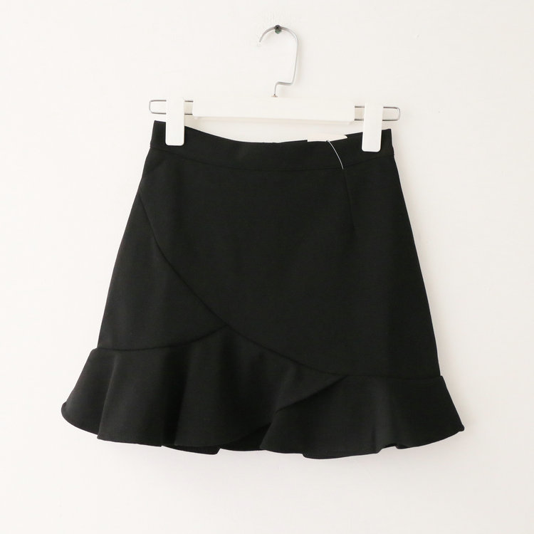 Women Mini Wrap Skirt High Waist Summer Bodycon Ruffle Asymmetrical Skinny Short Casual Skirt black