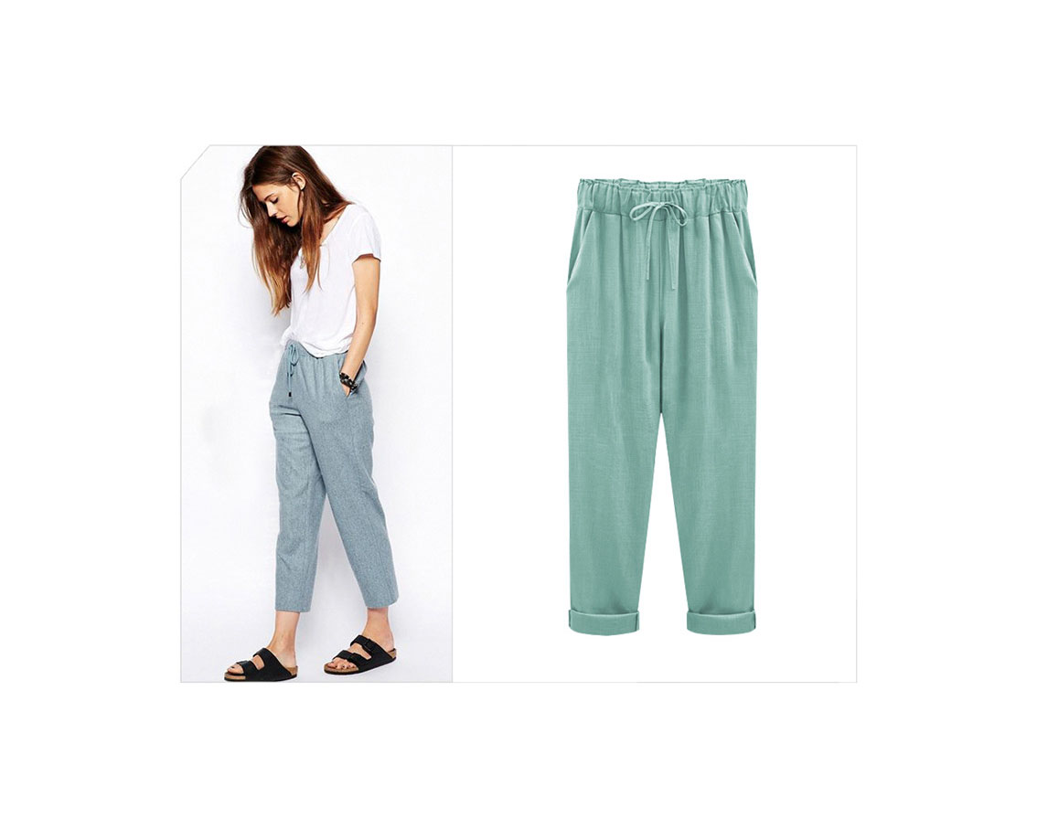 5dbbc9a27b8 Plus Size Women Harem Pants Drawstring High Waist Pockets Casual Loose  Trousers aqua