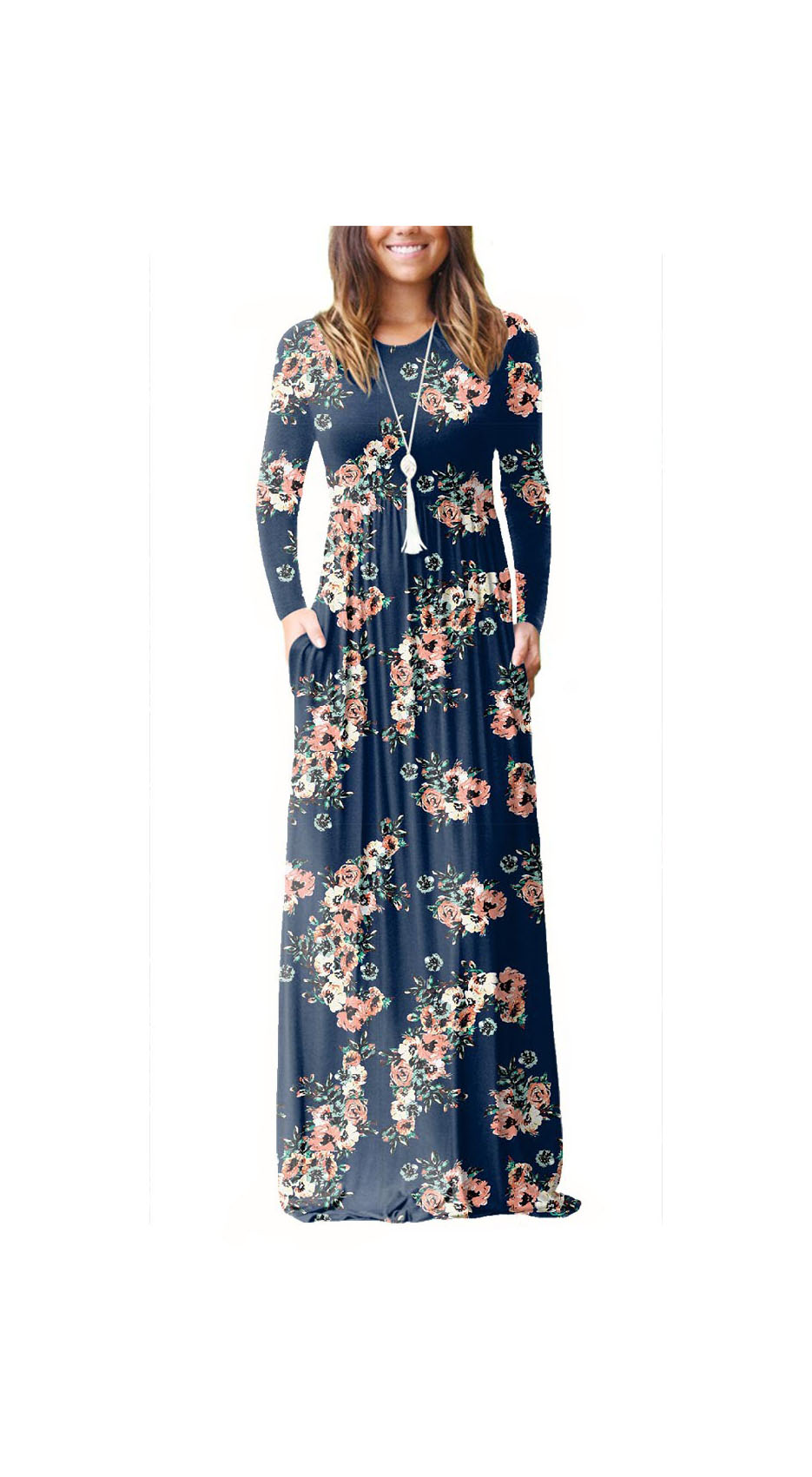 Women Floral Print Maxi Dress Long Sleeve Pockets Beach Boho Long Casual Party Dress dark blue