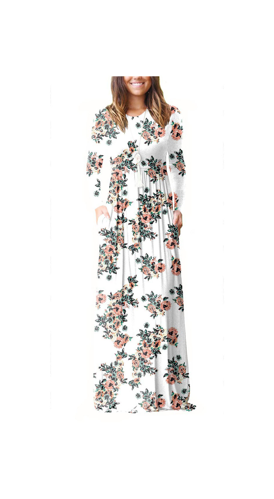 8f702b5acf Women Floral Print Maxi Dress Long Sleeve Pockets Beach Boho Long Casual Party  Dress off white