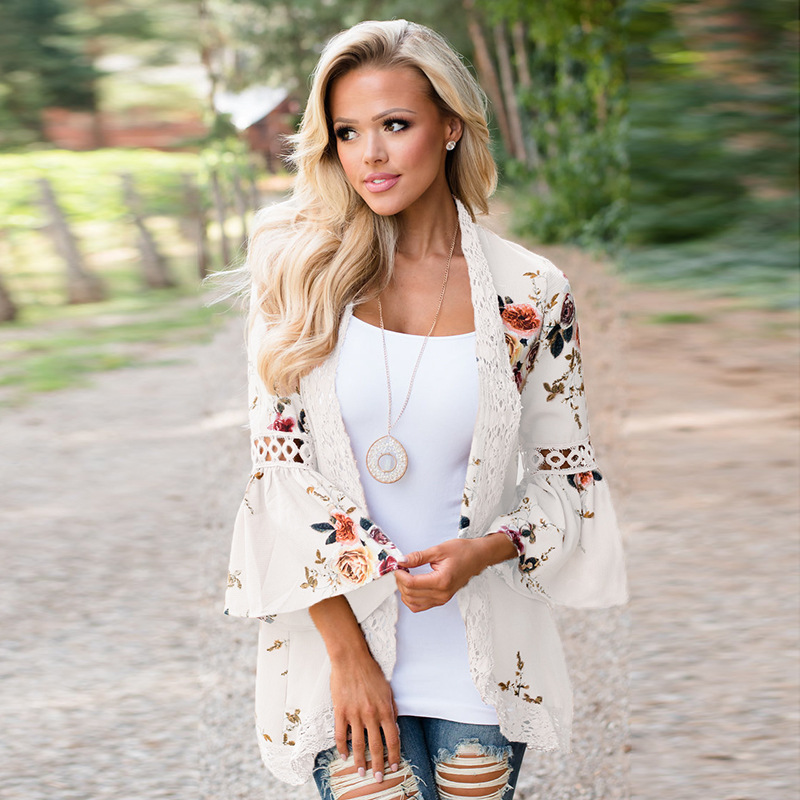 Boho Women Coat Jacket Hollow Lace Flare Long Sleeve Casual Open Stitch Floral Printed Cardigan off white