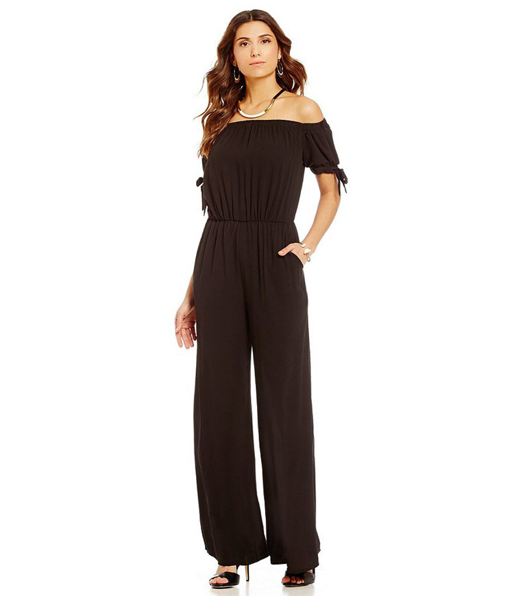 1a1b546ee5 Women Long Jumpsuit Off Shoulder Short Sleeve Wide Leg Pants Chiffon Floral  Printed Rompers black