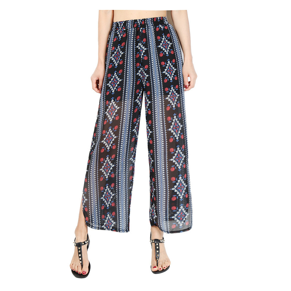 Women Chiffon Loose Casual Pants High Waist Summer Side Split Floral Printed Wide Leg Trousers2#