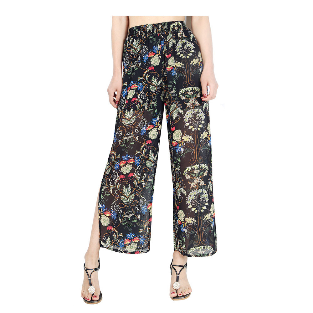 Women Chiffon Loose Casual Pants High Waist Summer Side Split Floral Printed Wide Leg Trousers8#