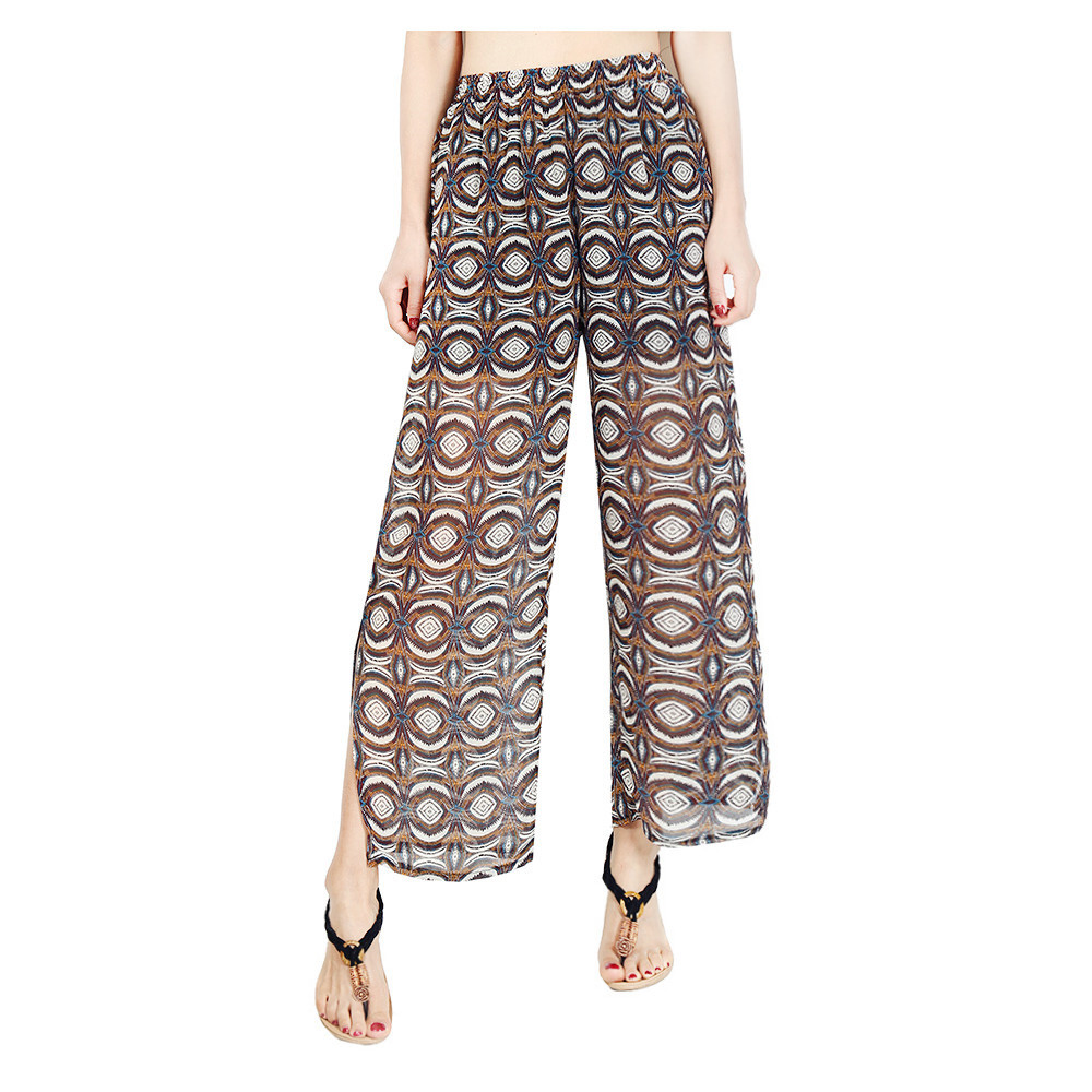 Women Chiffon Loose Casual Pants High Waist Summer Side Split Floral Printed Wide Leg Trousers10#