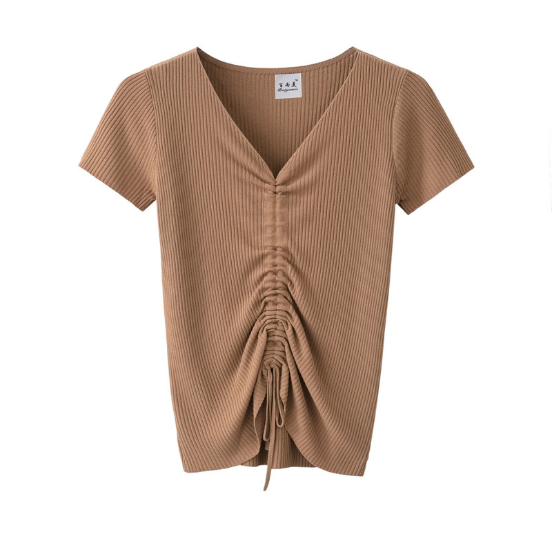 Women Ice Silk T Shirt Summer Short Sleeve V Neck Drawstring Slim Knitted Tops khaki