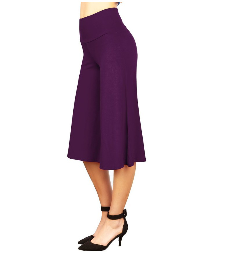 Women Wide Leg Pants High Waist Knee Length Summer Casual Loose Streetwear Trouses purple