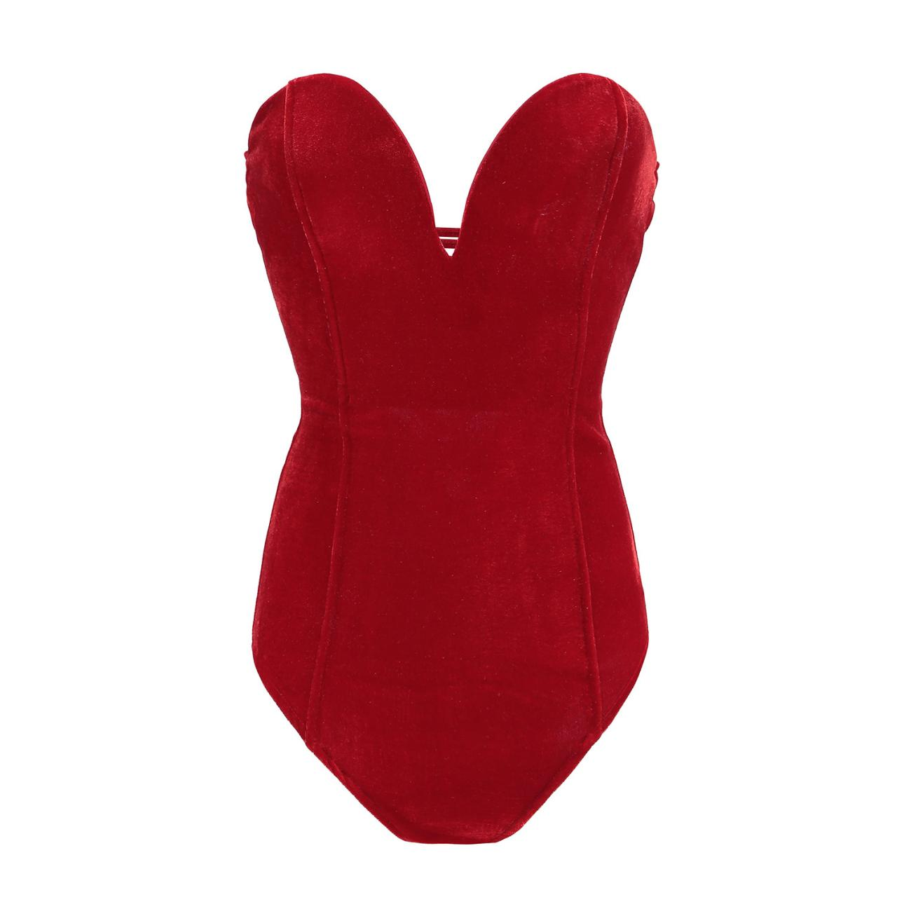 Women Velvet Bodysuit V Neck Slim Body Tops Backless Lace Up Bodycon Jumpsuit red