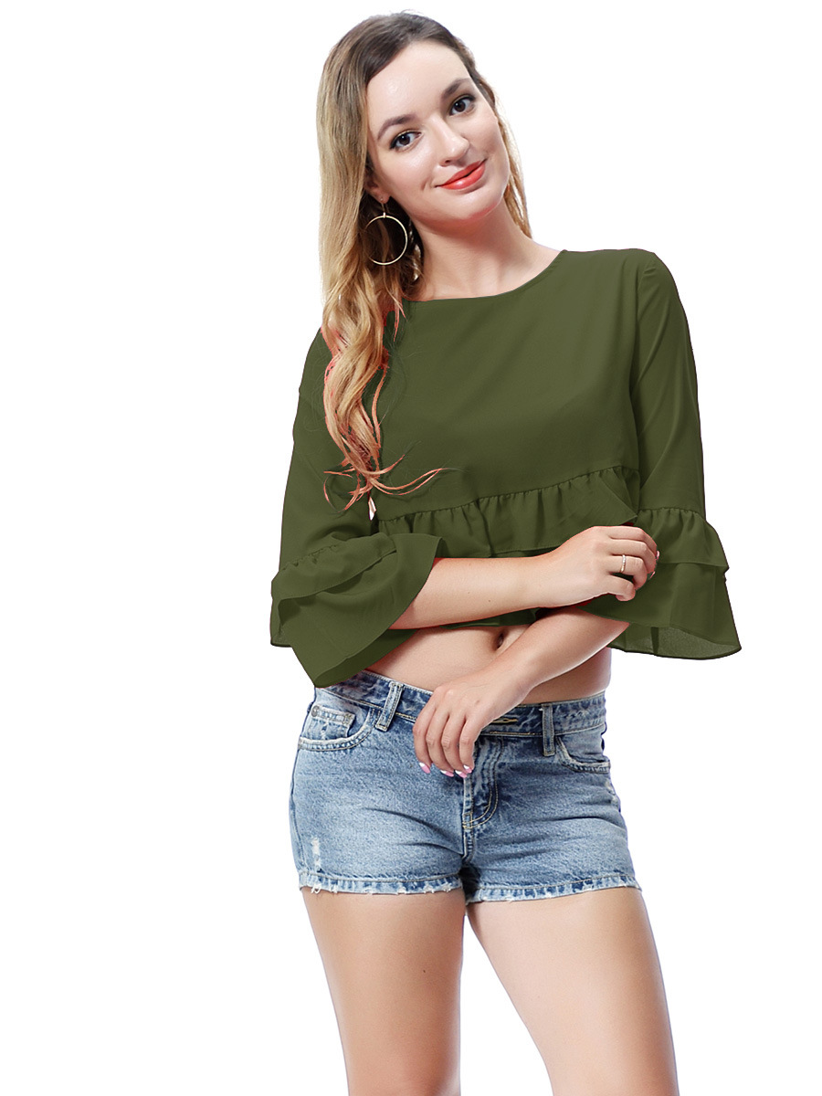 Army Green Round-Neck Ruffle Crop Top with 3/4 Sleeves