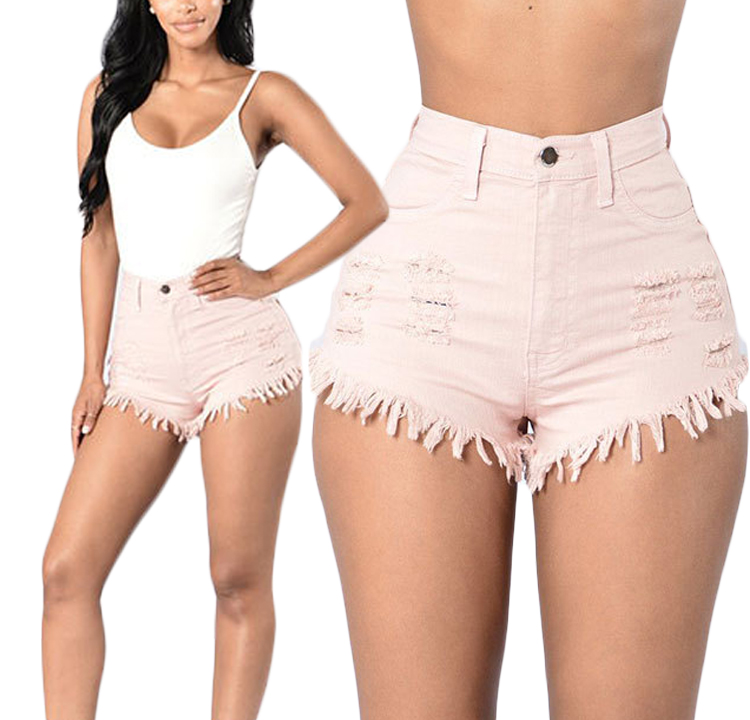 Women Denim Shorts High Waist Ripped Tassels Summer Casual Mini Jeans Shorts pink