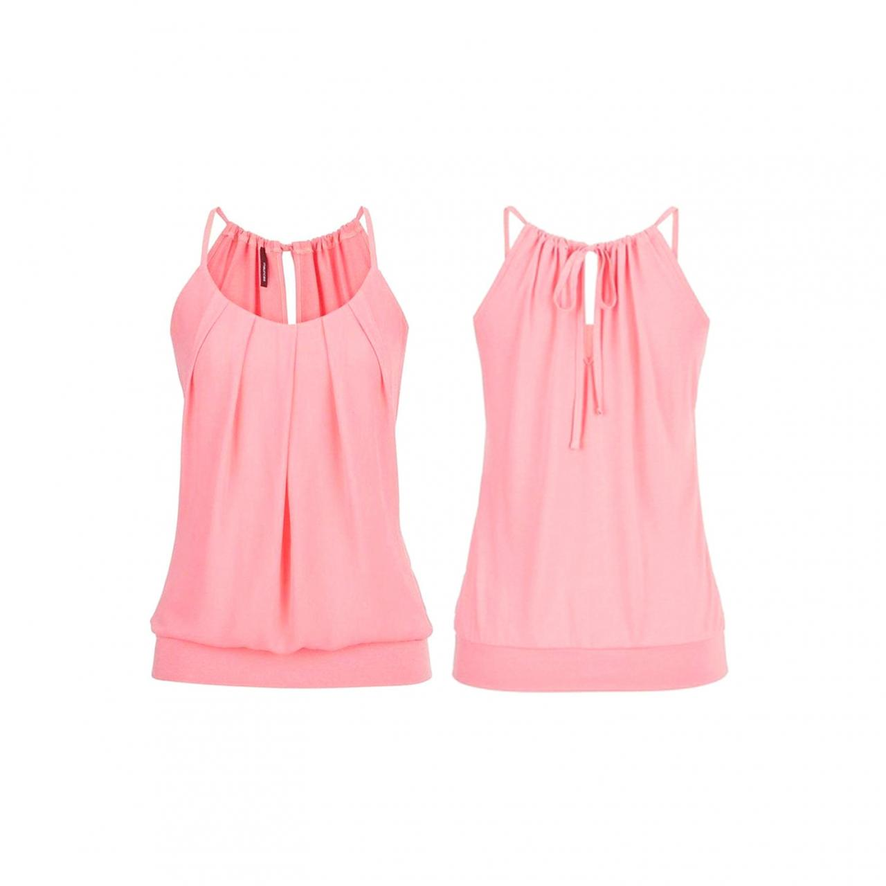Women Tank Top Summer Casual Ruched Plus Size Loose Sleeveless T Shirts pink