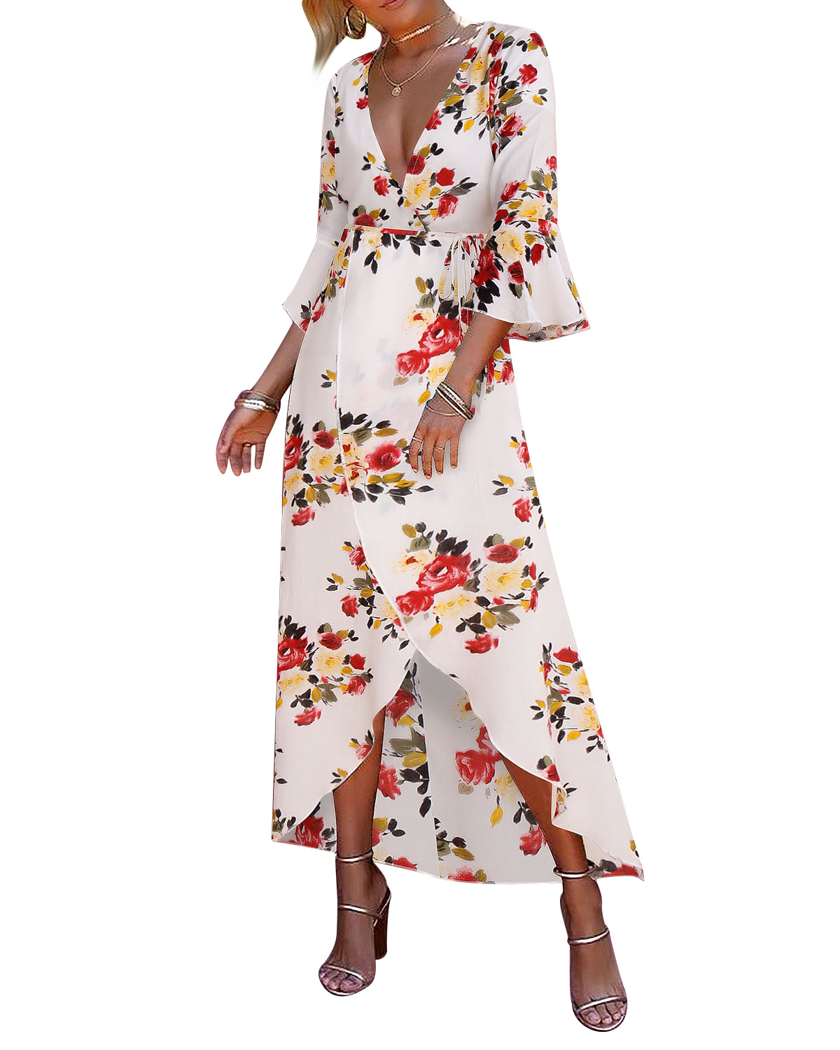 87a539baa Women Floral Printed Maxi Dress V Neck 3/4 Flare Sleeve Boho Summer Beach Long  Dress off white+red floral