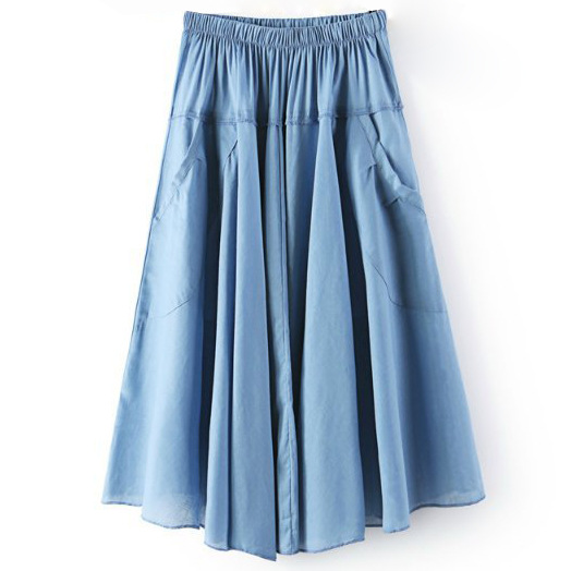 Women A Line Midi Skirt Elastic High Waist Summer Casual Pockets Pleated Skirt sky blue