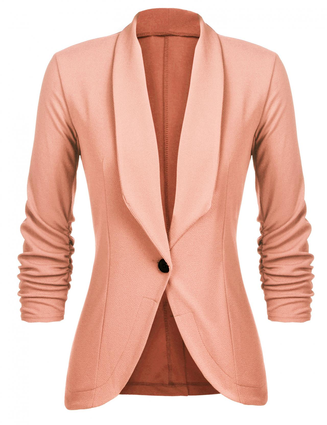 Women Slim Suit Coat 3/4 Sleeve One Button Casual Office Business Blazer Jacket Outwear salmon
