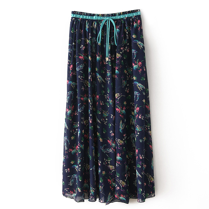 Boho Floral Print Maxi Skirt Summer Beach Women High Waist Casual Long Bohemian Skirt 6#