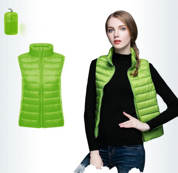 Women Sleeveless Waistcoat Winter Ultra Light Duck Down Vest Female Slim Jacket Packable Warm Coat green