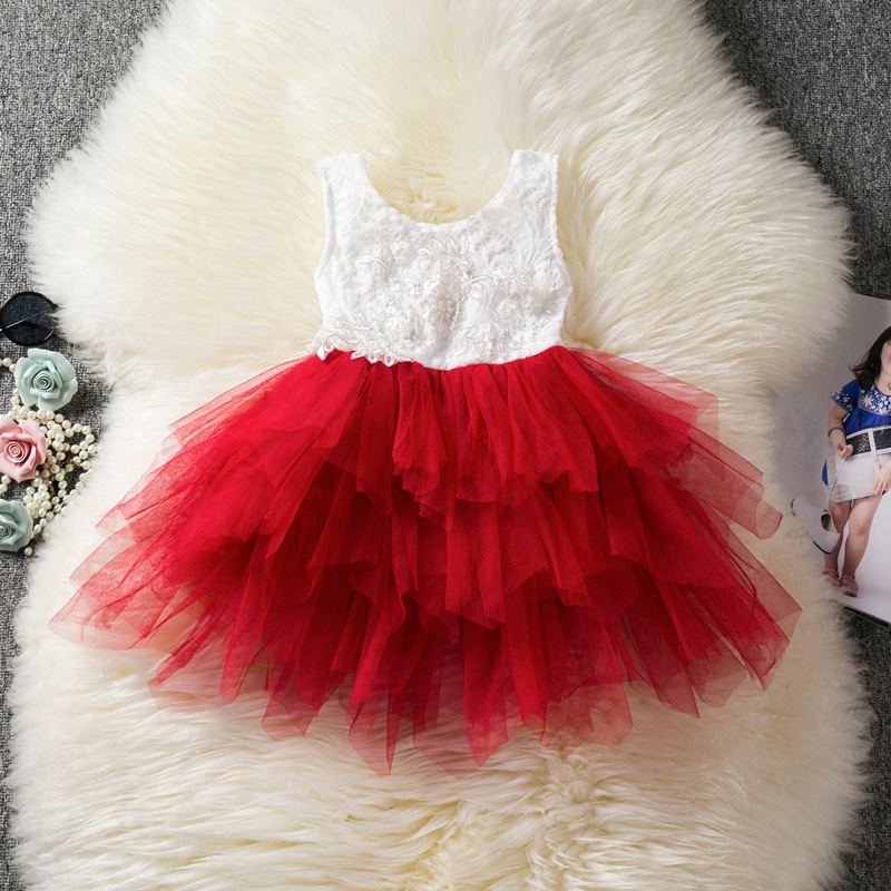 519c57a8fd5c3 Baby Girl Tulle Dress Princess Cake Tutu Layered Sleeveless Lace Wedding  Party Flower Girl Dress Red