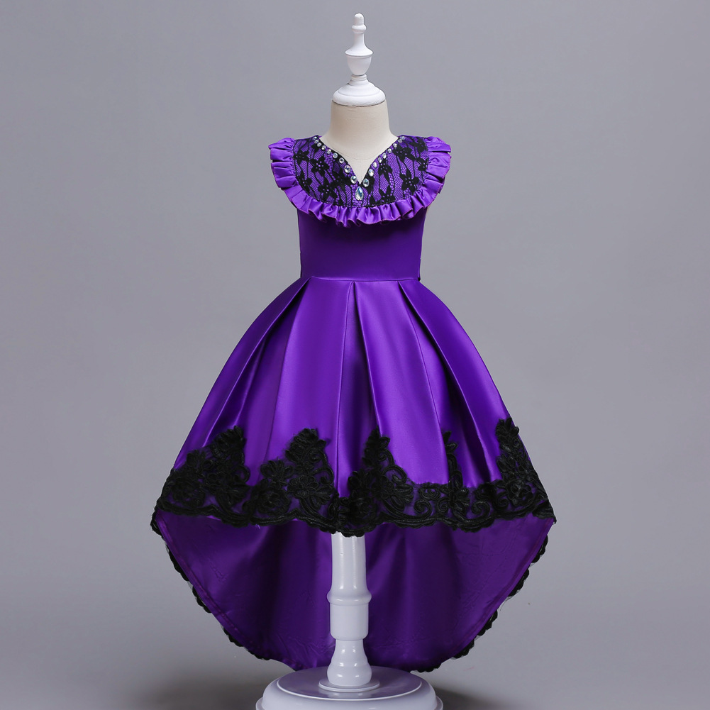 High Low Flower Girl Dress Sleeveless Lace Formal Birthday Party Gown Kids Children Clothes purple