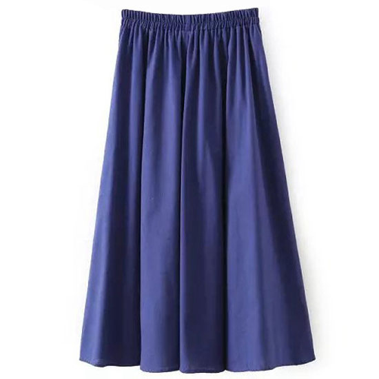 Women Midi Skirt Elastic High Waist Summer Below Knee Casual A Line Skater Skirt royal blue