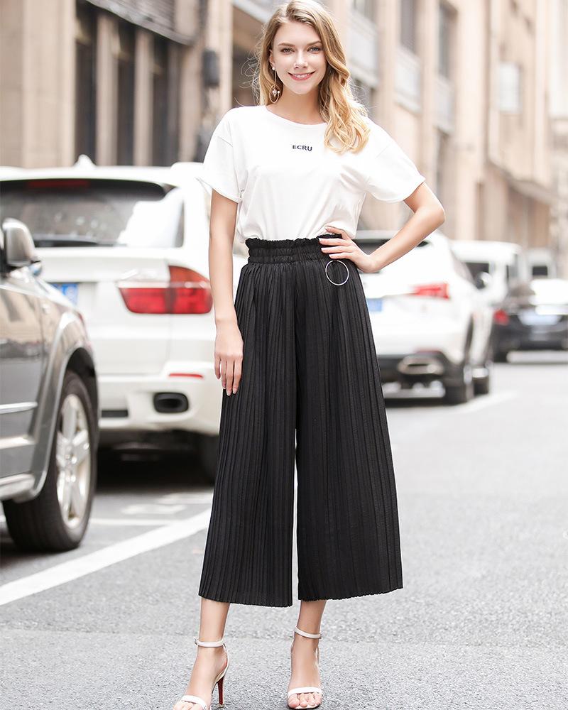 Women Wide Leg Pants High Waist Solid Summer Casual Loose Pleated Trousers black