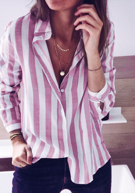 Women Striped Blouse Autumn V-Neck Button Turn down Collar Long Sleeve Work Tops Shirt pink